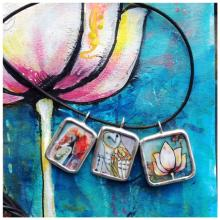 Lotus painting with three pendants