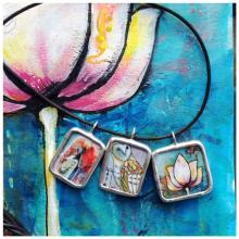 Lotus painting with three pendants